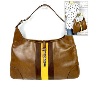 Auth GUCCI Jackie Hobo Bag Tan Brown Yellow Stripe